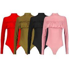 New Womens Turtle Polo Neck Frill Leotard Bodysuit Body Top