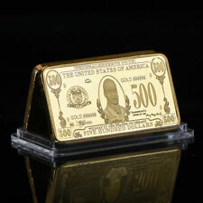 WR Old US Currency $500 Dollar Bill 999 Gold Clad Bullion Bar Christmas Gifts