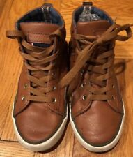 Tommy Hilfiger Dennis Cognac Brown Hi Top Leather Sneakers~Boys Sz 13