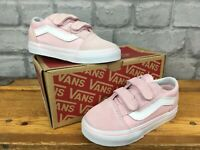 VANS OLD SKOOL PINK WHITE TRAINERS VARIOUS SIZES GIRLS CHILDRENS TODDLER INFANTS