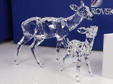 Swarovski Crystal Doe & Fawn, Clear Figurine  - 5001052 -  Retail $405 - Retired