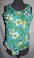 Beach Cabana one piece swimsuit Medium green blues Hawaiian floral