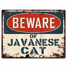 Pp1574 Beware of Javanese Cat Plate Rustic Chic Sign Home Room Store Decor Gift