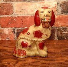 Staffordshire Red & White Spaniel Dog with Basket Porcelain Figurine, Left Side