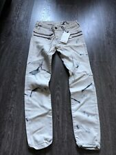 Zara Faux Leather White Marble Design Skinny Jeans Size 6 NWT