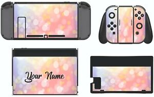 Nintendo Switch PERSONALISED pink sparkle effect Sticker Game Skins Decals cover