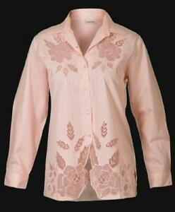 Sehr Chamant! Edle Bluse / Longsleve Shirt mit Stickerei
