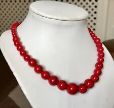 """Red Howlite Graduated Adjustable Bead Necklace ( 18-24"""") 289.000cts"""