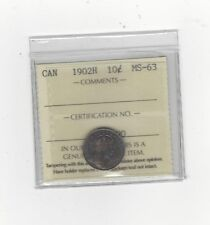 **1902H**, ICCS Graded Canadian,  10  Cent, **MS-63**