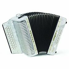 Hohner Button Accordion Corona II Classic FBbEb, With Gig Bag, Straps, White
