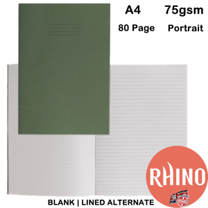 SCHOOL EXERCISE BOOKS A4 RHINO RULED LINED & BLANK ALTERNATE 80 PAGE 75GSM