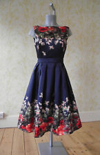 *BNWT* MELA LOVES LONDON navy floral box pleat retro 1950s midi prom dress UK 8