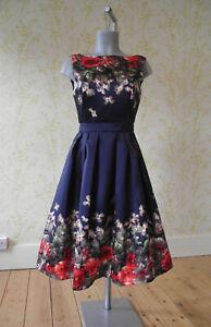 *BNWT* MELA LOVES LONDON navy floral box pleat retro 1950s midi prom dress UK 8