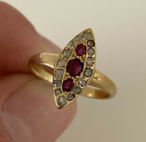 18ct Gold Old Cut Natural Ruby And Rose Cut Diamond Marquise Cluster Ring, 18k