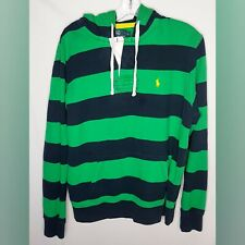Polo Ralph Lauren Mens Navy Blue /Green Striped Pullover Hoodie L Large