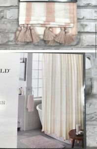 Threshold Tassel Trimmed Striped Coral Ivory Shower Curtain 72x72 NWOT