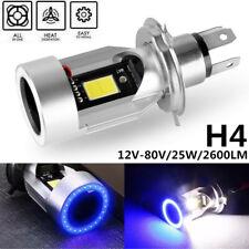H4 9003 HB2 Motorcycle LED Hi/Lo Beam Headlight Bulb 6000K Blue Angel Eye 12-80V