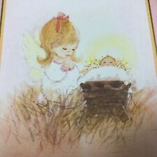 25 Vintage Drawing Board Greeting Cards Angel Girl & Baby Jesus Christmas Card