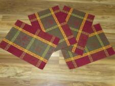 "4pc Rustic/Primitive Plaid Fabric Placemats~18"" x 13""~Place Mats~Gold/Red/green"