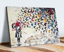 More details for canvas wall art print banksy butterfly brains girl graffiti 30mm deep framed