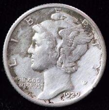 1929-P Mercury Dime LOT #4A20 AU Semi Key Date10C 10 Cent US Silver Coin