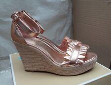 MICHAEL KORS Bella Wedge - Pale Pink Metallic Leather Ladies Shoes - EU 39/UK 6