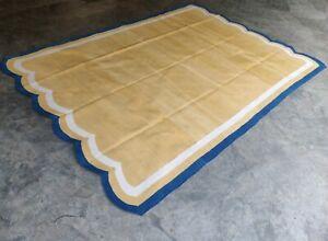 Cotton Rug 6x9 Rug Living Room Handwoven Scalloped Striped Cotton Area Yoga Rug