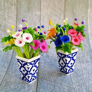 Dollhouse Miniatures Clay Flower Morning Glories in Ceramic Vase Pot Decoration