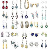 925 Opal Amethyst Citrine Earrings Dangle Drop Ear Hook Studs Bride Wedding Gift