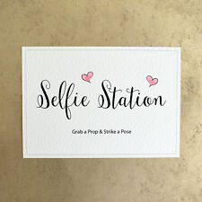 Selfie Station Grab a Prop & Strike a Pose - Photo Booth Wedding Sign - Pink