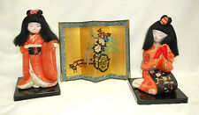 Japanese Kimekomi Gofun 2 Dolls & A 4-Panel Table Top Silk Screen Vintage S8776