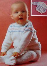 "Baby/Girls/Boys/ Vintage Knitting Pattern Jumper/Cardigan 51-56 cms/20-22"""