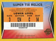 RODNEY HARRISON PATRIOTS SUPER BOWL RELIC 2005 TOPPS SUPER TIX NEW ENGLAND NBC