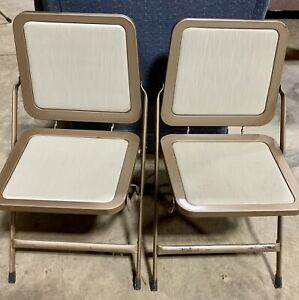 Vintage Mid Century White Krueger Metal Folding Chair Chairs