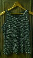 Cristall Collection Black Silk Beaded Tank Cami Top Formal Evening Wear Sz 10