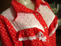 LARGE True Vtg 70s HANDMADE GRANDMA LACEY RED PRINT WESTERN COWGIRL SNAP TOP