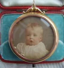 Vittoriano 9ct BIADESIVO Oro Pendente Medaglione di Foto con immagini Bambino Originale