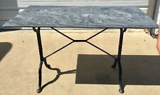 Vintage French Bistro Black Cast Iron Base Rectangle Marble Top Pastry Table