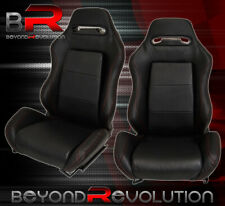 Pair Of Reclinable Bucket Seats Chairs Tiltable Pvc Leather Wrap Slider Black Fits Toyota Celica