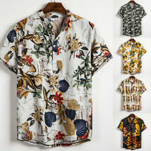 Men Floral Printed Shirts Hawaii Holiday Loose Summer Beach Shirt Button Up Tops