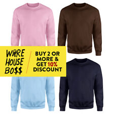 HI MENS WOMENS UNISEX PLAIN CREW NECK SWEATSHIRT FLEECE LINED CASUAL ROUND NECK