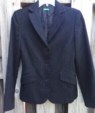 United Colors of Benetton Women's 10 Blazer Jacket 42 Fitted Black Striped K4