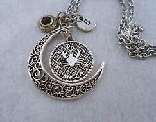 Cancer Zodiac Necklace w-July Swarovski Ruby Birthstone Crystal & Letter Charm
