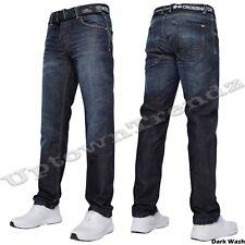 NEW MENS CROSSHATCH STRAIGHT LEG TECHNO DARK BLUE JEANS ALL WAIST SIZES 28 - 48