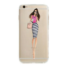 Slim Rubber Soft Silicone Fashion Girls Clear Case Cover For iPhone 5s 6s 7 Plus