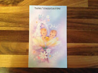 Twins Congratulations Card With Envelope   Baby Birth      NEW