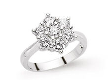 Cluster Ring Sterling Silver Engagement Ring Platinum Plated