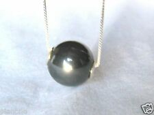 """24"""" Sterling Silver .925 Box Chain 14mm Single Black Mother of Pearl Necklace"""