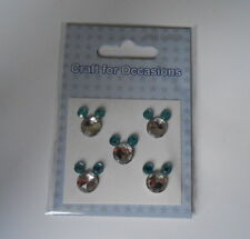 PACK 5 MICKEY MOUSE BLUE GEM EMBELLISHMENTS  FOR CARDS AND CRAFTS