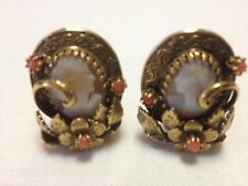 Vintage Art Nouveau Style Coral & Cameo Earrings